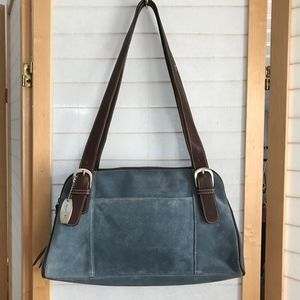 Small Tignanello tote bag light blue suede brown